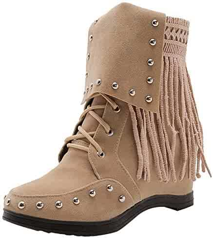 6e19b47699 Ourhomer Clearance Sale Women Autumn Martin Boots Suede Tassel Wedges Pure  Color Shoes Lace-Up