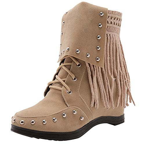 Realdo Clearance Sale Women Casual Fringe Lace Up Martin Booties Suede Ankle Boots Shoes(US 8.5,Beige) ()