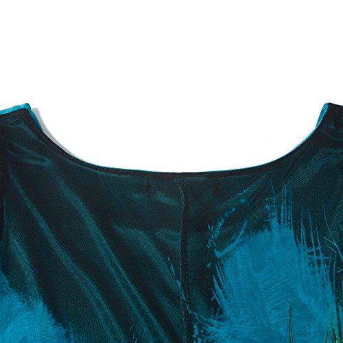 Paon De Style Bohème Des Femmes Bewish Cou Bateau Imprimé Ceinture Sans Manches Robe Maxi Plage Taille Plus