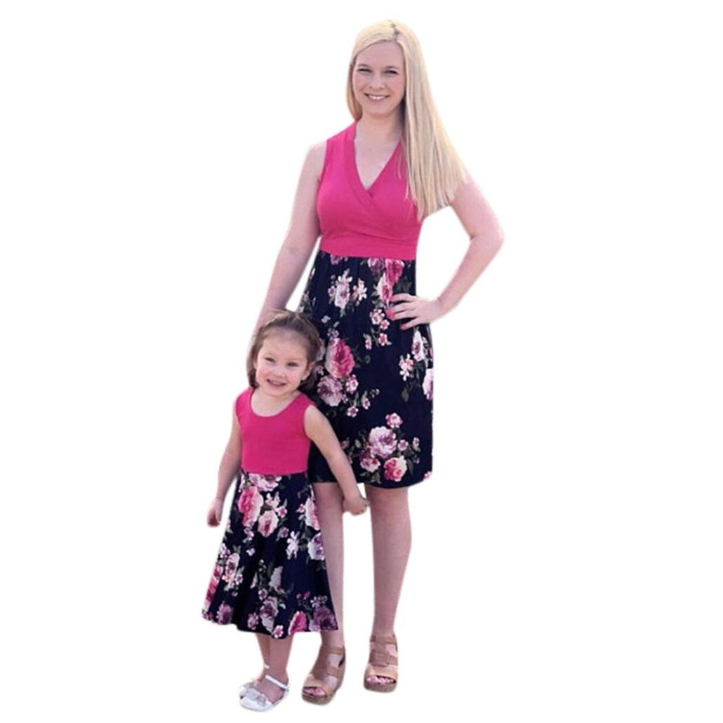 Rucan Mommy and Me Dresses Casual Floral Family Outfits Summer Matching Maxi Dress (Hot Pink, Mom XXX-Large)