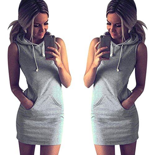 Women's Dress, Laimeng Casual Sleeveless Hoody Dress (XL)