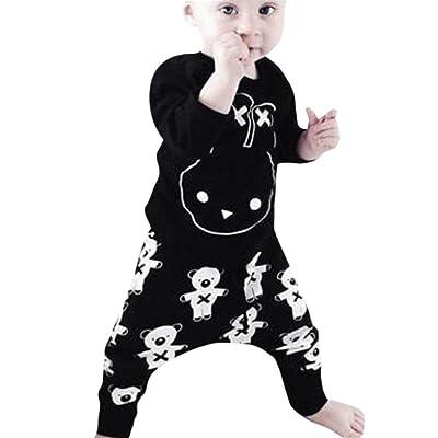 Moonker Newborn Infant Baby Boys Girls Cartoon Print Tops Shirt Print Pants 2Pcs Outfits