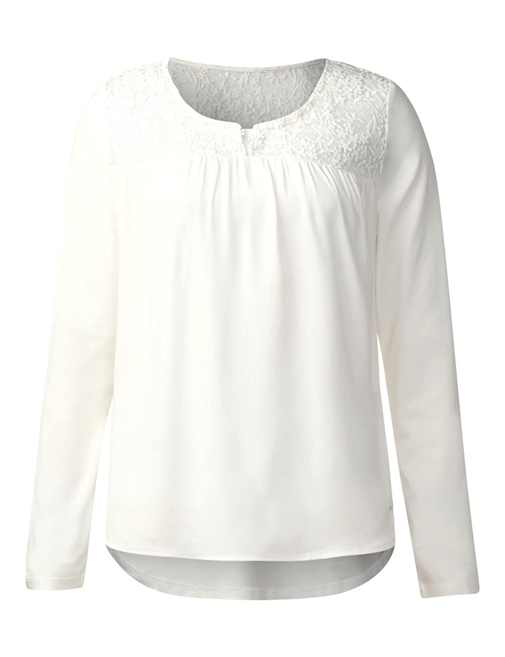 Street One Damen Langarmshirt 311498, Weiß (Off White 10108