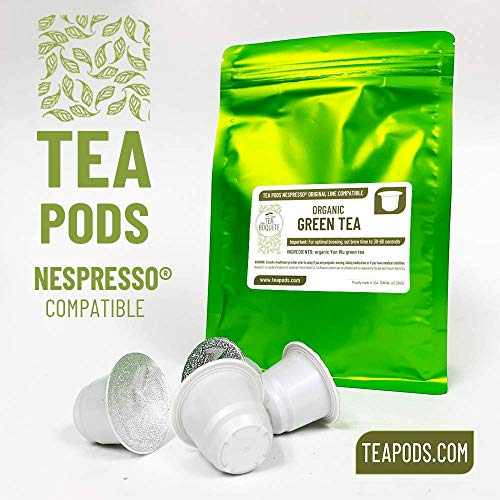 20 Organic Green tea pods Nespresso compatible, tea capsules for coffee brewers (Organic Green Tea, Pack of 20 pods)