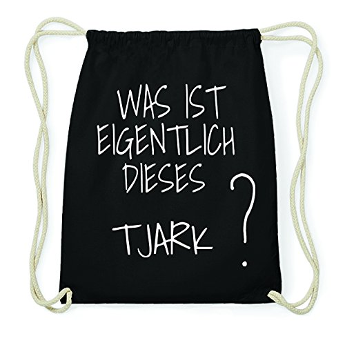 JOllify TJARK Hipster Turnbeutel Tasche Rucksack aus Baumwolle - Farbe: schwarz Design: Was ist eigentlich RdEkDM