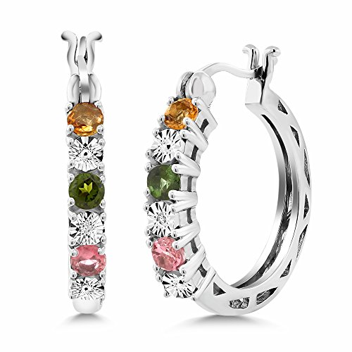 Gem Stone King Multicolor Tourmaline and White Diamond Accent 925 Sterling Silver Hoop Earrings