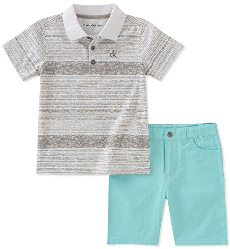 calvin klein Baby Boys 2piezas Polo pantalones cortos Set, Gris, 18 meses