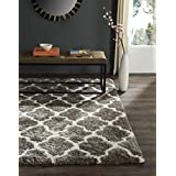 Safavieh Barcelona Shag Collection BSGB319B Handmade Silver and Ivory Polyester Area Rug, 2-Feet 4-Inch by 3-Feet 11-Inch