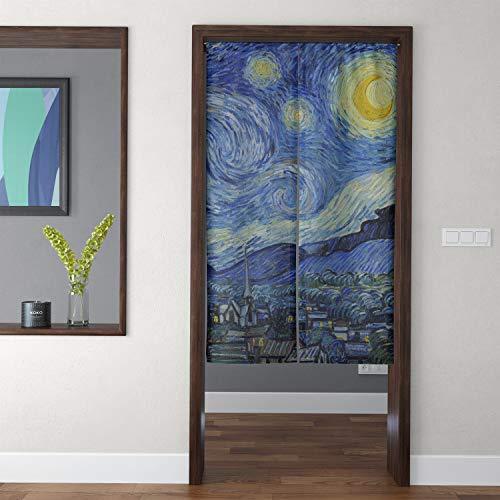 Spanker Artistic Oil Painting Van Gogh Starry Night Aesthetic Fabric Cotton Linen Japanese Noren Doorway Curtain for Home Kitchen Door Decor 34x59 Inches (Van Gogh Starry Night Painting For Sale)