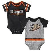 NHL Anaheim Ducks Children Unisex Definitive 2Piece Onesie Set, 18 Months, Heather Grey
