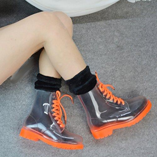 Naranja LvRao de Mujeres Nieve Calcetines Tobillo con Alto Botines Botas Calentar Zapatos Invierno Lluvia para Boots Cordones R8R6Fxfqn