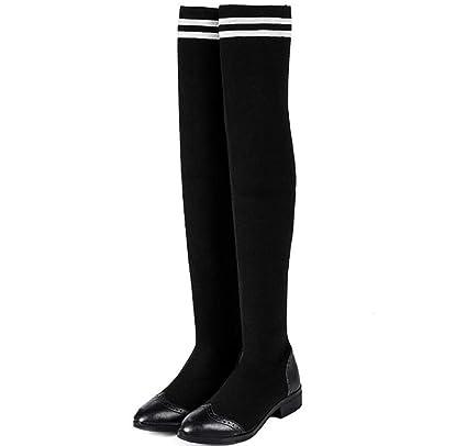 énorme réduction 7cf7b cfc22 GDXH Womens Boots Talon Plat sur Le Genou Bottes Stretch ...