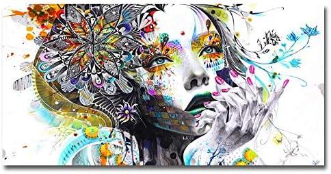 TOOGOO Impresiones de Lienzo Coloridas Pintura Colorida en Mosaico Arte de Las Mujeres de la Cara del Animado con Flores Cuadros del Arte de Pared para Sala de Estar Sin Marco (40X80 Cm)
