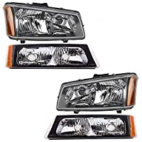4 Piece Set Headlights w/ Front Park Signal Marker Lamps Replacement for Chevrolet Avalanche Silverado Pickup Truck