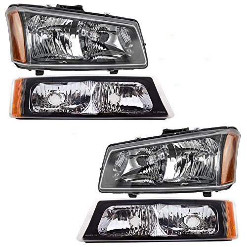 Headlights w/Front Park Signal Marker Lamps 4 Piece Set Replacements for Chevrolet Avalanche Silverado Pickup Truck ()