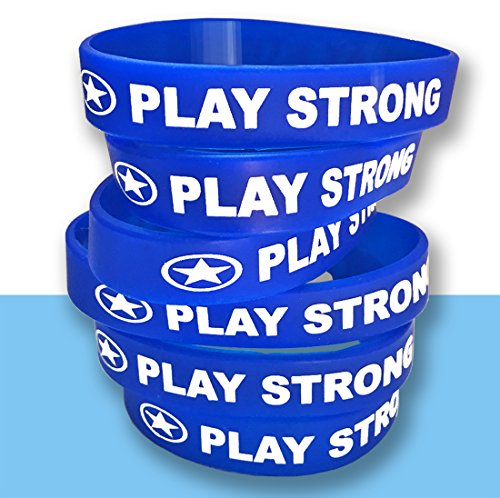 (Play Strong Motivational Wristband Bracelets (Blue, 6-Pack, Classic 1/2 x 7 Youth Size) Durable Silicone Bracelets, Team Coach Athlete Motivation #AllProfitsToHelpKids)