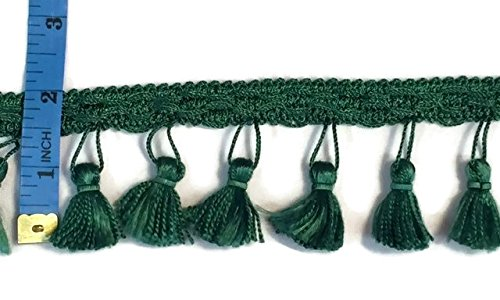 2 Yards, Fringe Tassels, Perfect for Home Decor, Emerald