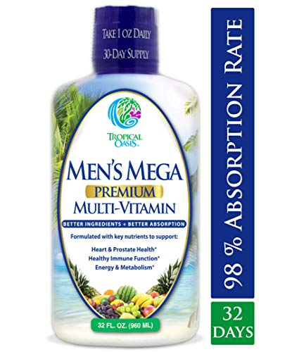 Mens Mega Premium Liquid Multivitamin w/CoQ10, Paba + 100 Additional Vitamins, Minerals, Amino Acids to Support Muscle, Heart & Brain Functions* Max Absorption! - 32 Serv, 32oz
