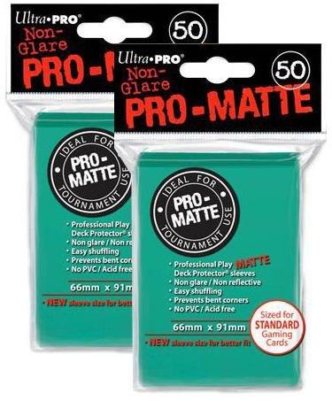100 Ultra Pro Aqua PRO-MATTE Deck Protectors Sleeves Standard MTG Colors