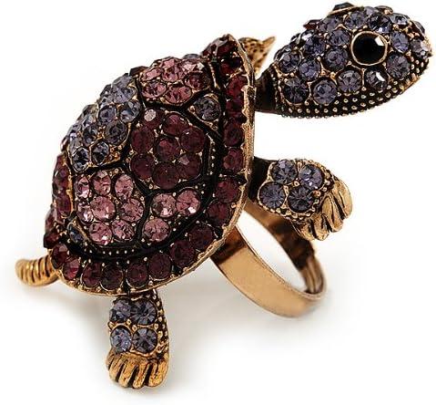 Anillo de tortuga de cristal púrpura grande en oro de combustión metal ajustable