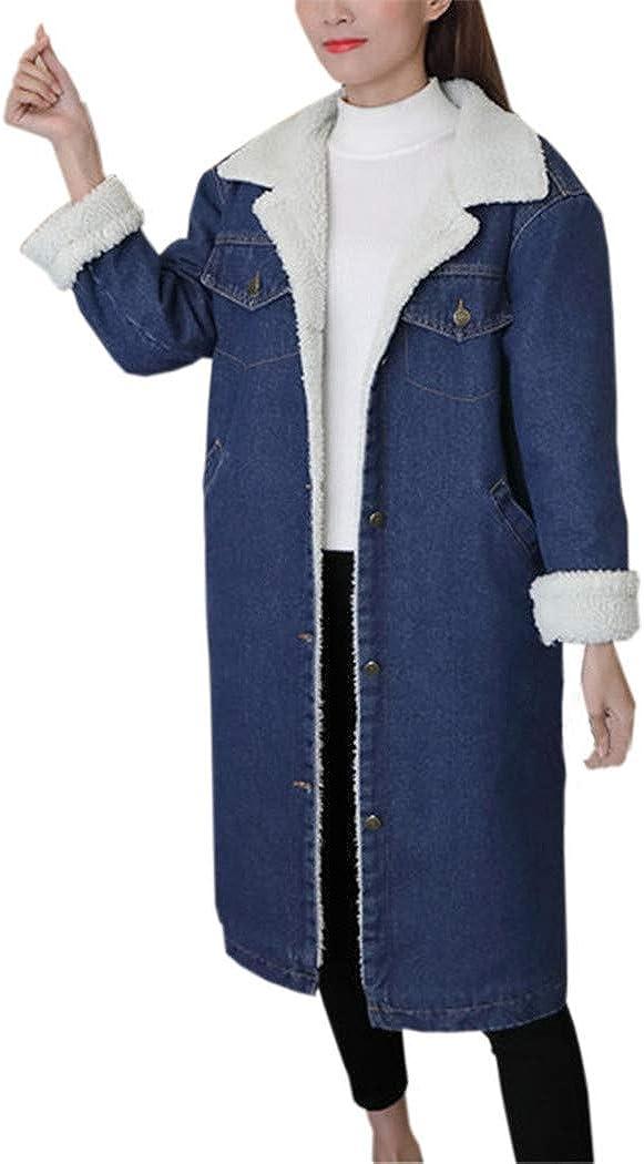 AOJIAN Women Jacket Long Sleeve Outwear Denim Notch Collar Pocket Button Jean Coat