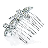 GIZZY® Ladies Girls Silver Coloured Diamonte Floral design hair side Comb