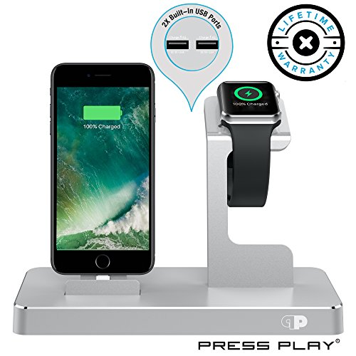 ONE Dock (APPLE CERTIFIED) Power Station Dock, Stand & Built-In Lightning Charger for Apple Watch Smart Watch (Series 1,2,3, Nike+), iPhone X/10/8/8 Plus/7/7Plus/6s/6s, iPad & iPod (Aluminum) – Silver from Press Play