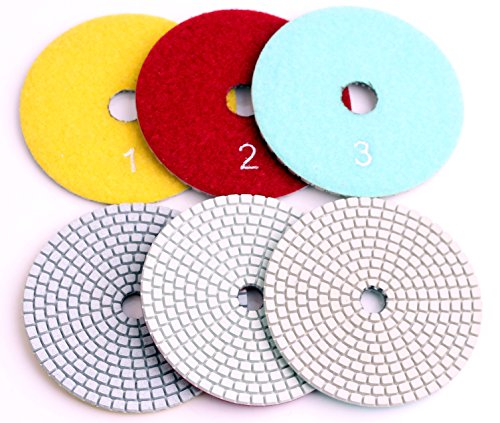 Flexible Dry and Wet Diamond 3 Step Polishing Pads,for Granite and Marble Set of 3 Pieces