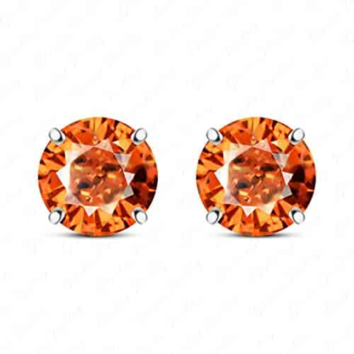 Gemstar Jewellery Round Shape Orange Sapphire 18K Rose Gold Plated Cluster Flower Stud Earrings