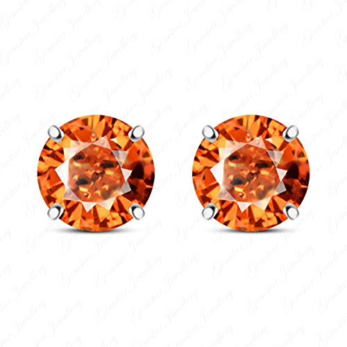 Gemstar Jewellery Round Orange Sapphire 925 Silver Stud Solitaire Earrings In 18K White Gold Plated