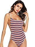 Verdusa Women's Sleeveless Scoop Neck Strappy Backless Bodysuit Multicolor M
