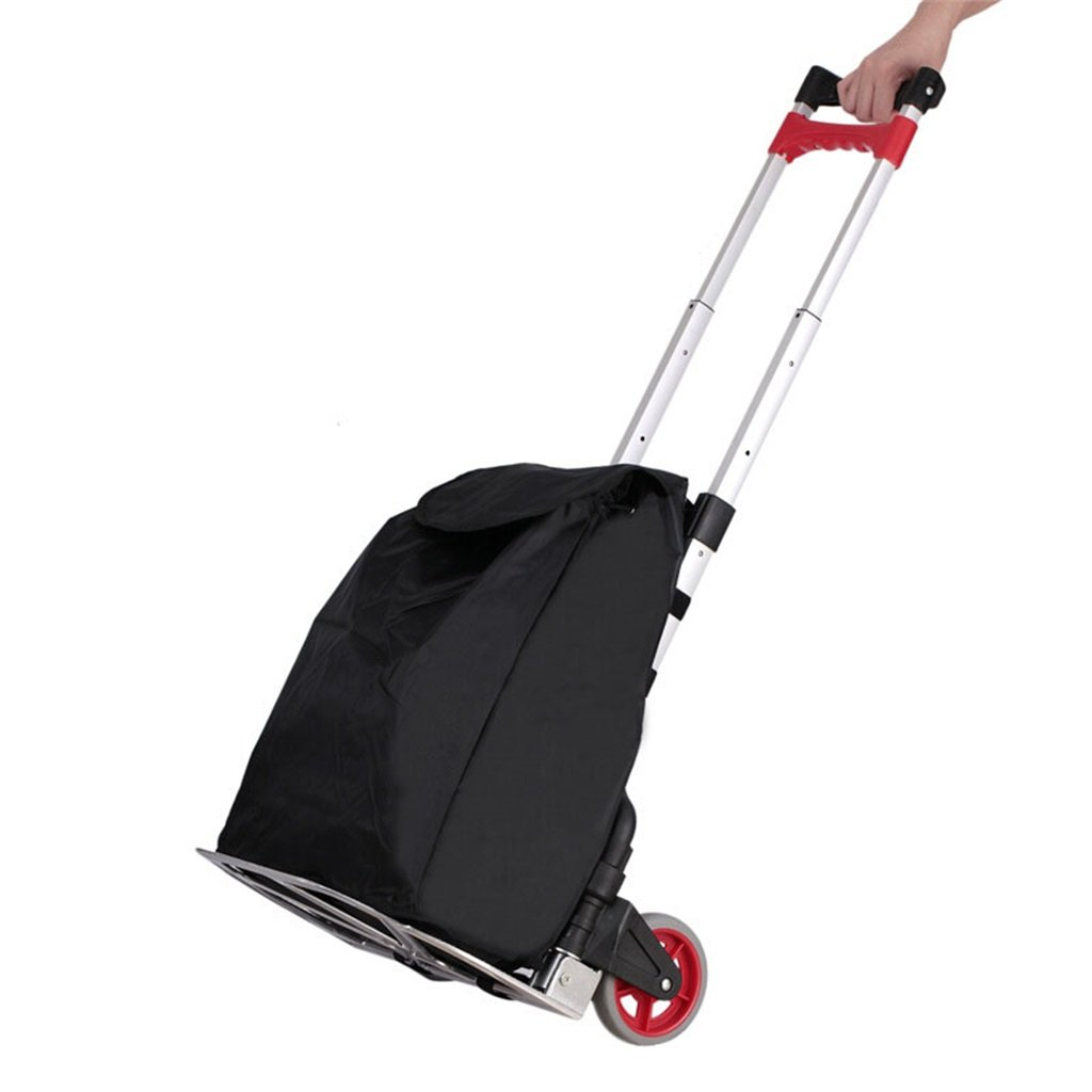 LSX LIUSIXIAO-Shopping cart Trolley Portable Express delivery Van Folding Aluminum Luggage Trailer Large Outdoor Travel Trolley car Bag OYO (Color : Black)