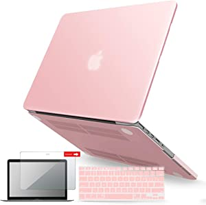 IBENZER MacBook Pro 13 Inch Case 2015 2014 2013 end 2012 A1502 A1425, Hard Shell Case with Keyboard Cover & Screen Protector for Old Version Apple Mac Pro Retina 13, Rose Quartz, R1301RQ+2