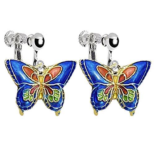 Enamel Craft Butterfly Clip on Earrings for Kids Girls Women Princess Birthday DIY Jewelry (Deep Blue)