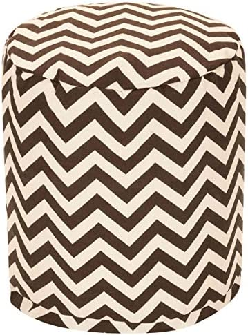 Majestic Home Goods Chocolate Chevron Indoor/Outdoor Bean Bag Ottoman Pouf 16″ L x 16″ W x 17″ H