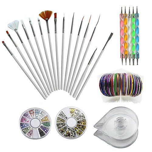 Nail Art Kit Includes 30 Nail Striping Tape with 2 Dispensers 5 Dotting Pens 15 Nail Art Brushes 1 Box Of 12 Colors Nail Rhinestones And 1 Box Of 3D Sliver/Gold Nail Art Studs (Nail Art (1 Dispenser Box)