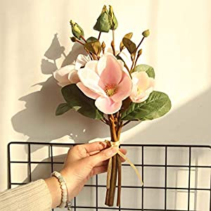 Gotian Artificial Fake Flowers Leaf Magnolia Floral Wedding Bouquet Party Home Decor ~ Perfect for Decorating Wedding Party, Your Home and Garden, Office, Coffee House 45