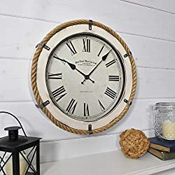 FirsTime & Co. Whitewashed Rope Wall Clock, 14, Antique White