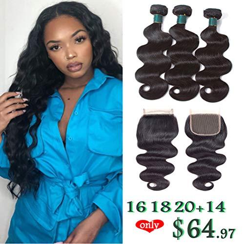 Brazilian Virgin Body Wave Bundles With Closure 8A 100% Unprocessed Human Hair 3 Bundles With Lace Closure Natural Color (16 18 20+14closure)