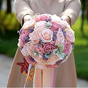 Bridal bouquets for wedding,Bride Holding Tossing Flowers Wedding Bouquet Babybreath Rose Bouquets 55
