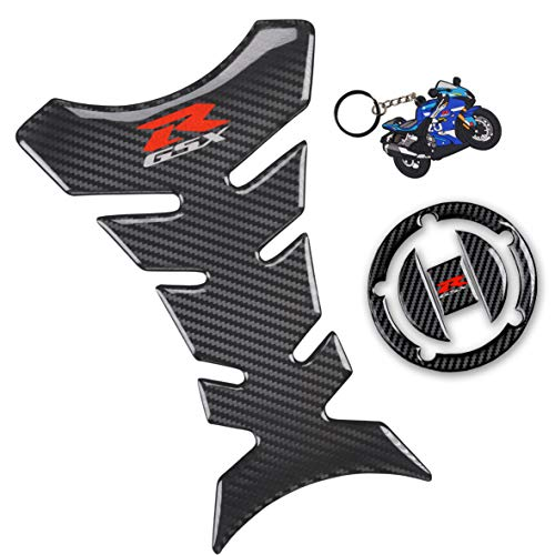 REVSOSTAR Real Carbon Gas Cap, Fuel Cap Decal, Tank Pad Stickers with Keychain, Tank Protector for GSXR 600 GSXR 750 GSXR 1000 K6 K7 K8 K9 L1 2006-2017, 3Pcs Per Set