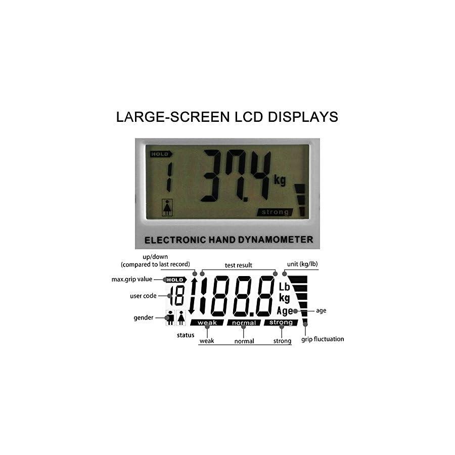 Camry Digital Hand Dynamometer Grip Strength Measurement Meter Auto Capturing Hand Grip Power 200 Lbs / 90 Kgs