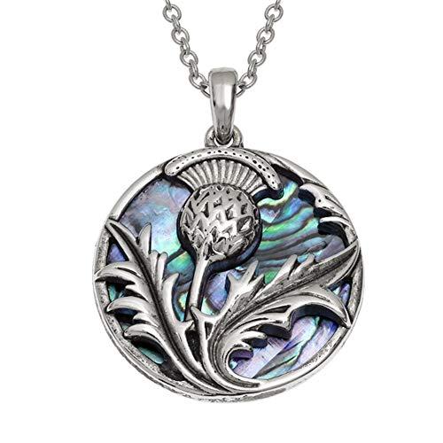 Jewellery Thistle Scottish (Talbot Fashions Tide Jewellery Inlaid Blue Paua Shell Scottish Thistle Pendant Necklace)