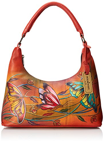Anuschka Medium Top Zip Evening Bag, Angel Wings Tangerine, One Size