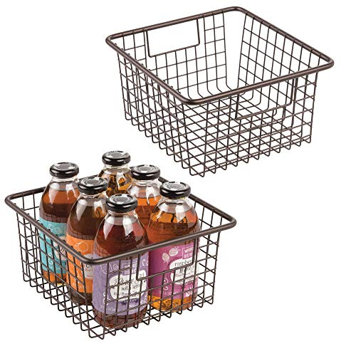 mDesign Household Wire Storage Organizer Bin Basket with Built-In Handles for Kitchen Cabinets, Pantry, Closets, Bedrooms, Bathrooms - 10.25