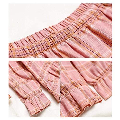 Taille Trousers De Pink Casual Botonadura Larga Dos Redondo Dormir Irregular Mujer A Ropa Elastische Cuello Tops Modernas Piezas Cuadros Elástica Manga qxPHpAP4