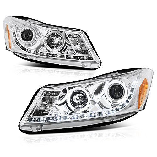 ([For 2008-2012 Honda Accord Sedan] LED Halo Ring Chrome Projector Headlight Headlamp Assembly, Driver & Passenger Side)