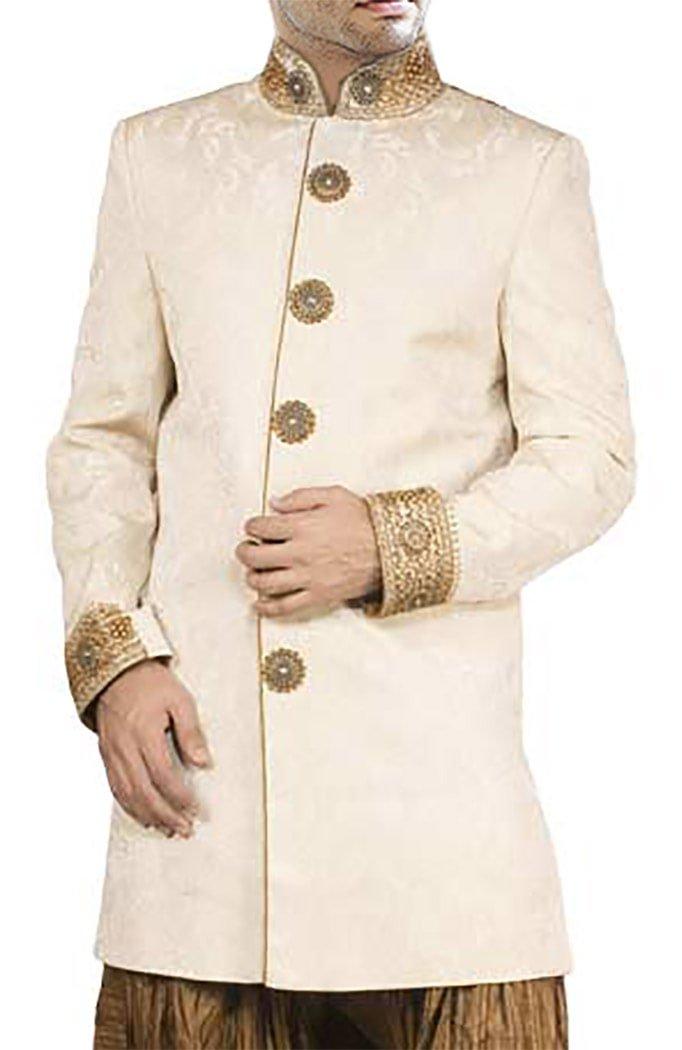 INMONARCH Mens Party Wear Long Coat Indo Western Suit IN163 54R Cream