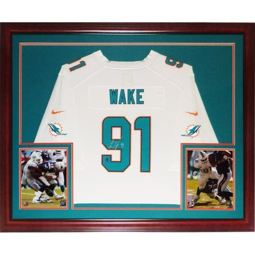 Cameron Cam Wake Autographed Miami Dolphins (White #91) Deluxe Framed Nike Jersey - Wake Holo