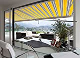 ADVANING Manual Luxury L Series, 16'x10', Semi-Cassette Top Quality Window/Door Canopy Sun Shade Patio Retractable Awning, Sunny Yellow with Silver Gray+Blue Stripes, Model: MA1610-A423H2